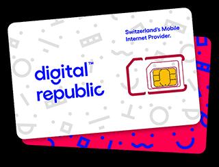 SIM Karte für mobiles Internet von Digital Republic auf rotem Untergrund