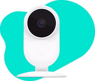 Weisse Überwachungskamera von vorne