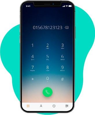 Smartphone tätigt per VoIP App einen Anruf