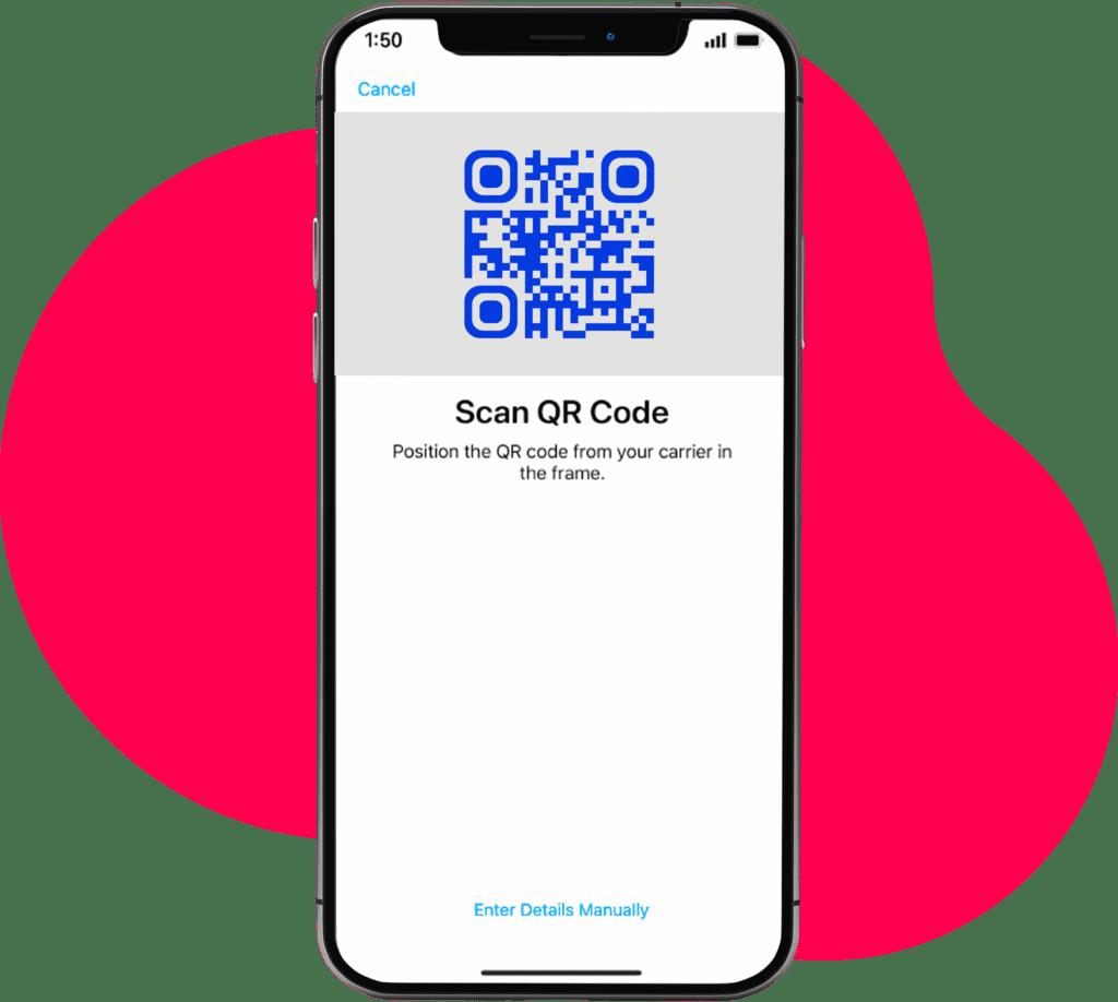Smartphone mit eSIM QR Code Aktivierung