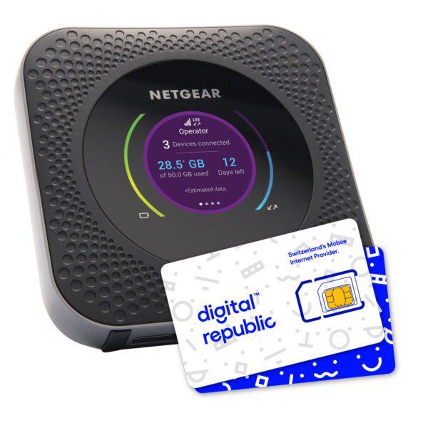 mobiler Hotspot Nighthawk M1 von Netgear für Internet unterwegs inklusive SIM-Karte von Digital Republic