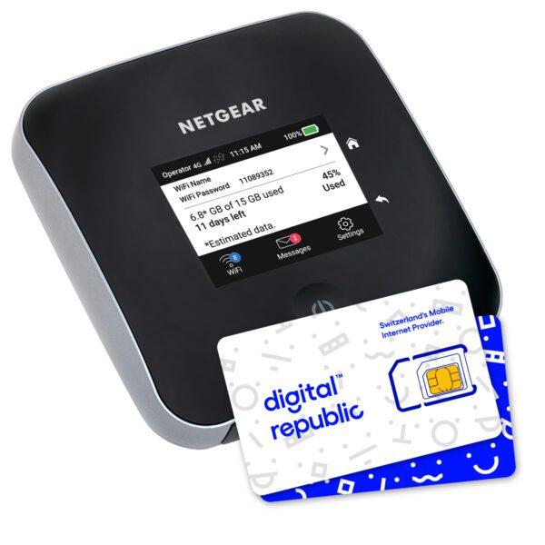 mobiler Hotspot Nighthawk M2 von Netgear für Internet unterwegs inklusive SIM-Karte von Digital Republic